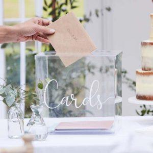 Enveloppendoos acryl huur bruiloft ceremoniemeester gastenboek