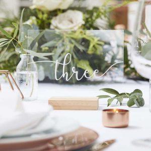 Tafelnummers acryl bruiloft tafelschikking