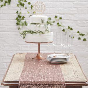 Tafelloper sequin rose goud