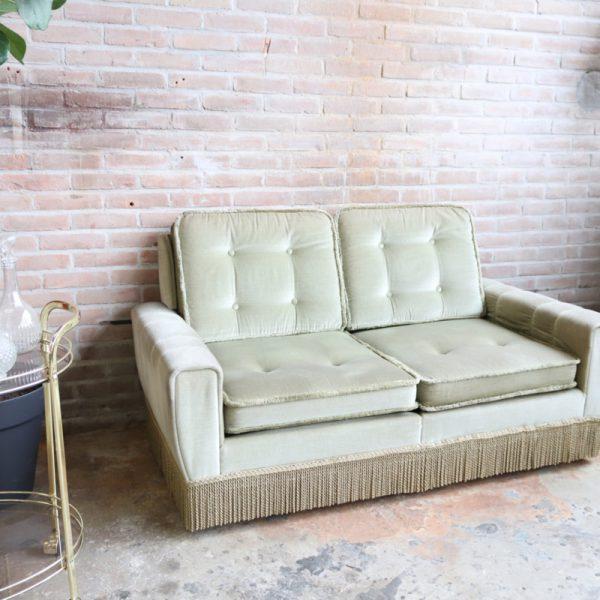 vintage velvet bankje groen