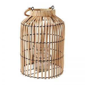 Windlicht lantaarn bamboe rotan