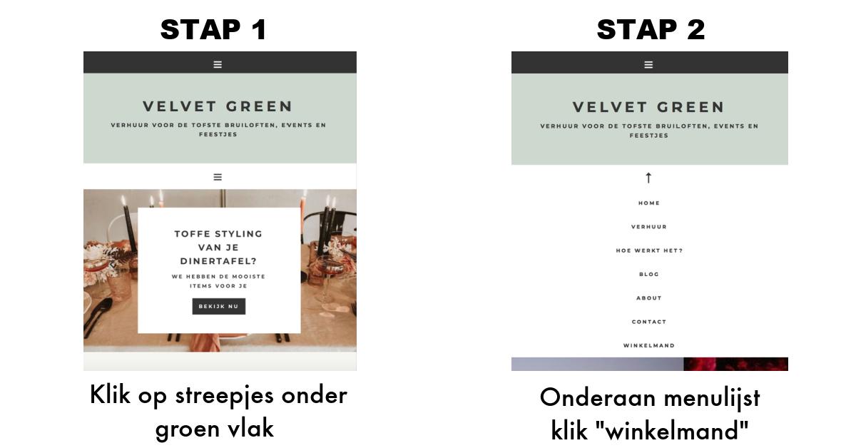 Winkelmand bekijken lijst verhuur Velvet Green
