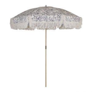 Boho parasol blauw met tassel huren