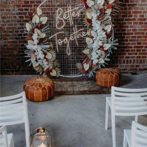 backdrop metaal wit rond raster event bruiloft ballondecoratie droogbloemen