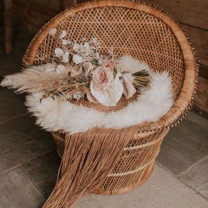 stoel riet boho verhuur bruiloft naturel rotan vintage
